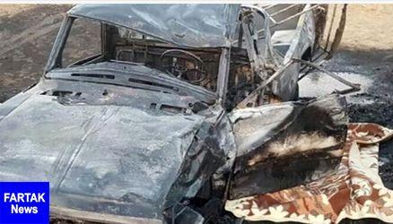 اتفاقی هولناک؛آتش سوزی خودرو و سوختن راننده