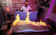 ماساژ درمانی حیرتانگیز ماساژور مصری با آتش!