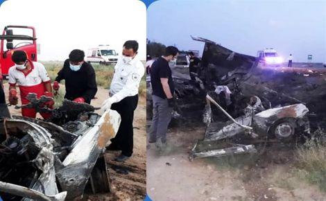 تصادف مرگبار در قزوین/ مرگ دلخراش 3 سرنشین/ آنها دچار حریق شدند