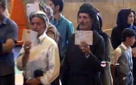 حضور پرشور مردم شهرستانهای استان کردستان پای صندوقهای رای + فیلم