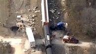 تصاویر هوایی از تصادف قطار با تریلی ۱۸ چرخ