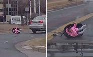 صحنه عجیبی که یک راننده با آن مواجه شد + فیلم