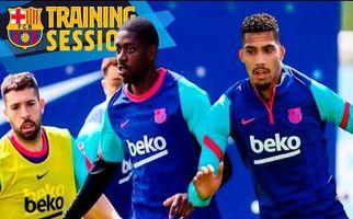 تمرینات آماده سازی بازیکنان بارسلونا + فیلم