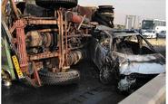 تصاویر وحشتناک از تصادف کامیون در جاده قزوین / تویوتا در آتش سوخت