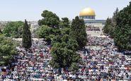 حضور دهها هزار فلسطینی در نماز جمعه مسجدالاقصی