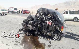 تصاویری دلخراش از تصادف وحشتناک در سپاهانشهر/دو سرنشین در دم جان باختند.