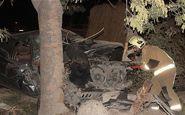 متلاشی شدن پژو ۴۰۵ پس از برخورد با درخت
