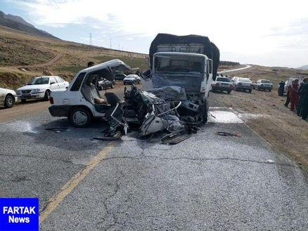 مرگ دلخراش عروس و داماد در تصادف با کامیون