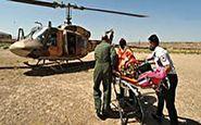 انتقال بانوی مصدوم با هلیکوپتر به بیمارستان