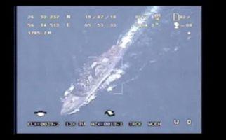 تصاویر رصد ناو آمریکایی توسط پهپادهای سپاه/ اثبات دروغگویی ترامپ + فیلم