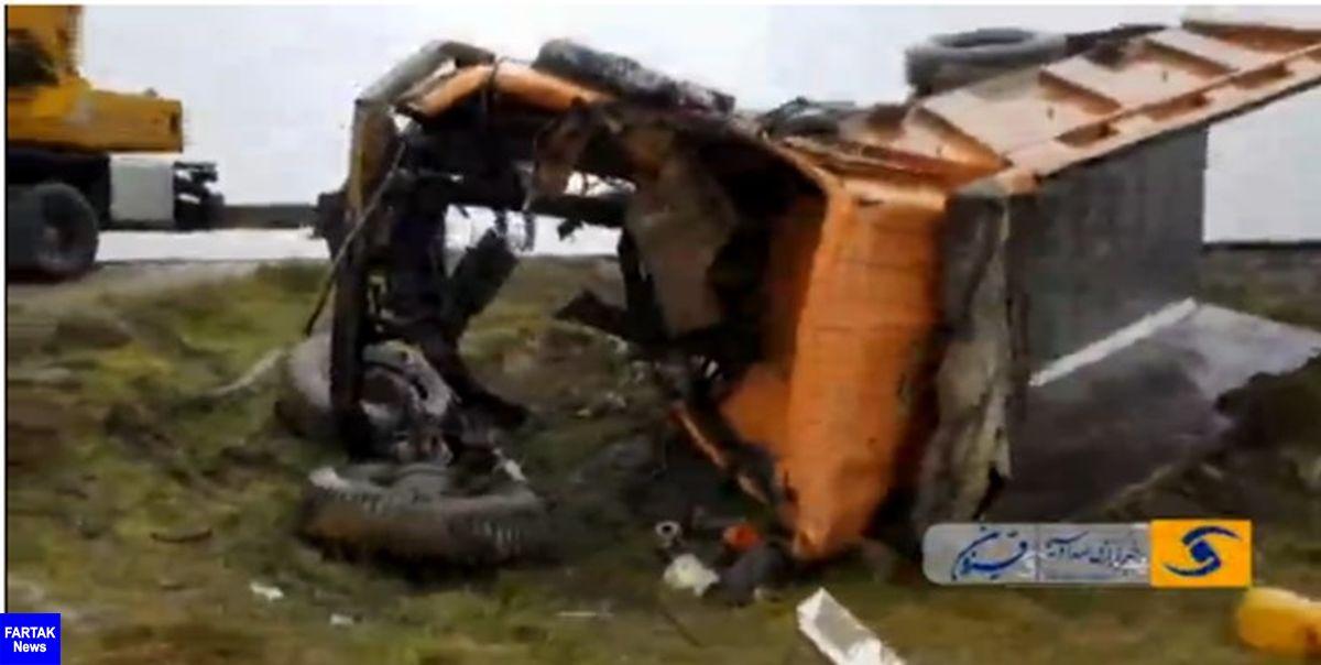 برخورد قطار با کامیون، راننده را به کام مرگ کشاند