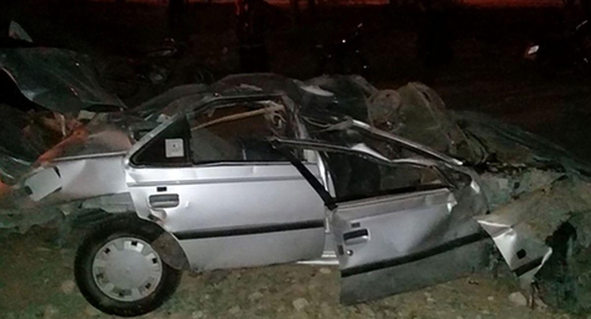 واژگونی پژو 405 و کشته شدن سه مرد جوان