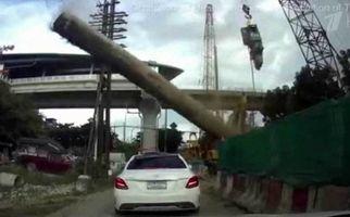 صحنه وحشتناک از سقوط شمع فولادی چهار تنی روی اتومبیل +فیلم
