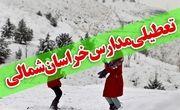 بارش برف مدارس برخی از شهرهای خراسان شمالی را تعطیل کرد
