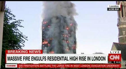 آتش سوزی گسترده یک برج مسکونی در لندن/برخی افراد خود را به بیرون پرت کردند