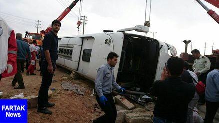 واژگونی اتوبوس در مرودشت/ 5 کشته و 15 مصدوم
