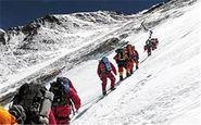 صعود نجاتگران هلال احمر به ارتفاعات دنا در شرایط بد جوی + فیلم