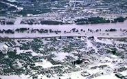 تصاویر هوایی از طغیان رودخانه در ژاپن و فرو رفتن خانهها به زیر آب