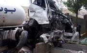 برخورد تانکر گاز مایع با دیوار بتنی پارک صائب تبریزی، موجب مرگ راننده شد