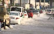 ترافیک در خیابانهای دوحه به دلیل وقوع سیل + فیلم