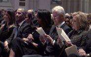 همنشینی اوباما و همسر ترامپ در مراسم خاکسپاری مادر جرج بوش